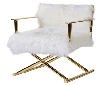 White Mongolian Fur Chair