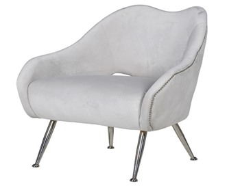Soft Grey Studded Chair with Stainless Steel Legs