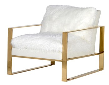 White Plush Fur Chair with Gold Arms