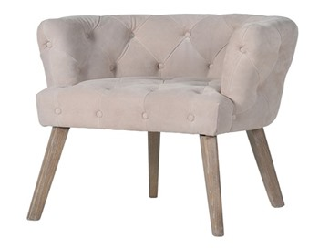 Nude Suede Buttoned Pigskin Armchair