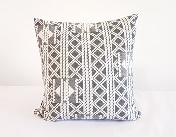 Grey and White Patterned Cushion Cover
