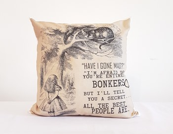 Alice in Wonderland Cushion - Have I gone mad?