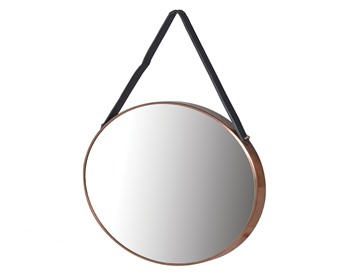 Round Copper Hanging Mirror