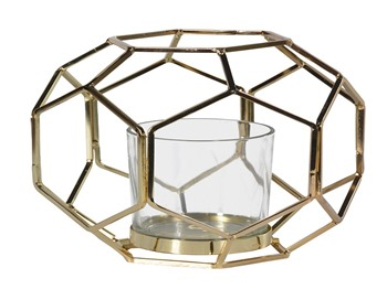 Hexagon Gold and Glass Lantern
