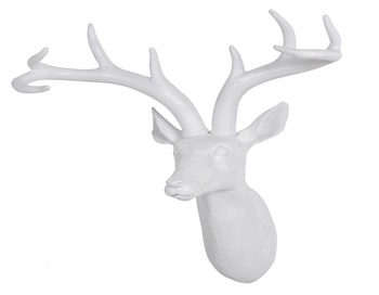 White Resin Deer Head