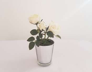 Potted white artificial roses