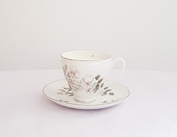 Vintage tea cup and saucer with candle - Silver Rose