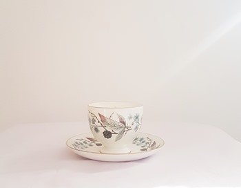 Vintage Tea Cup and Saucer with candle - Spring Morning